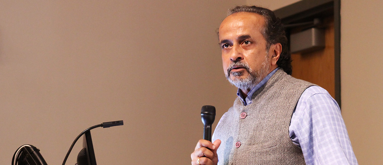 """Sanjeev Chatterjee speaks to the audience before screening """"Sweet Malady"""""""
