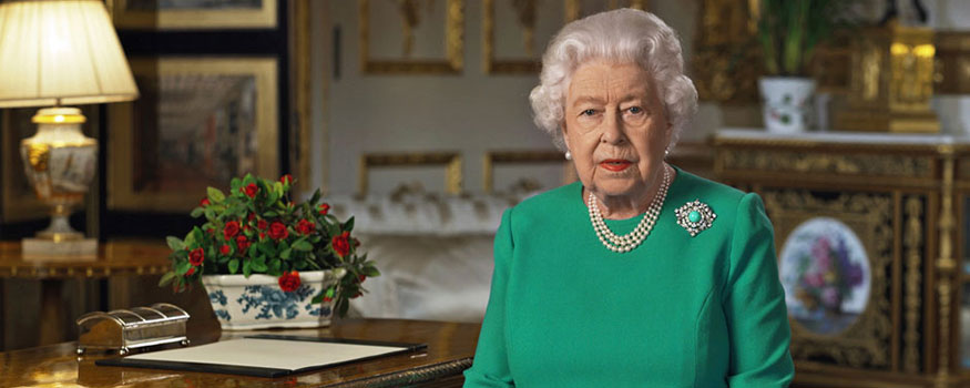 """Queen Elizabeth II made a rare address Sunday, April 5, calling on Britons to rise to the challenge of the coronavirus pandemic, to exercise self-discipline in """"an increasingly challenging time."""" Photo: Buckingham Palace via Associated Press"""