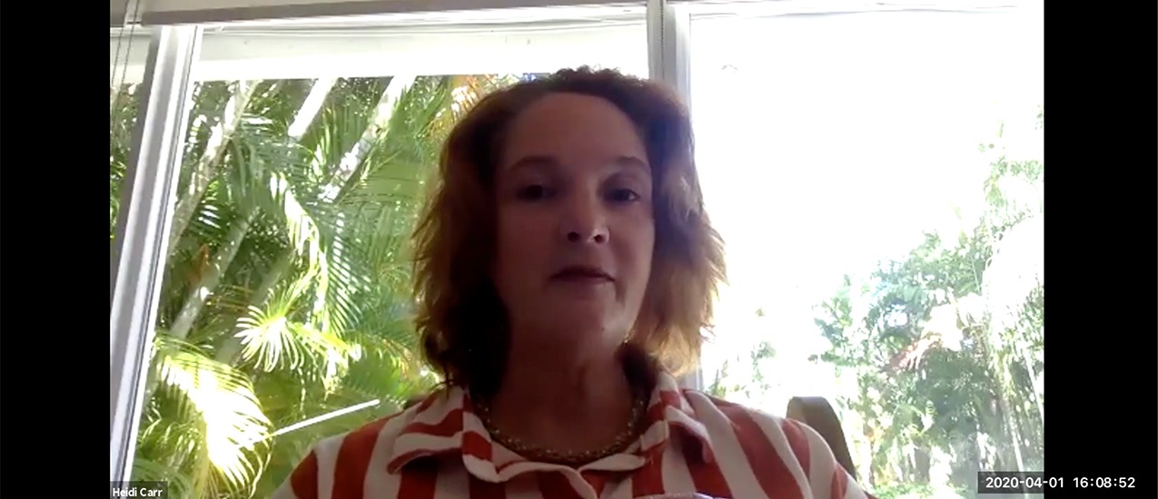 "Heidi Carr (pictured) hosts her Media Relations class on Zoom with invited guest Mary Ellen Klas, capital bureau chief for the ""Miami Herald"" and co-bureau chief of the ""Tampa Bay Times"""