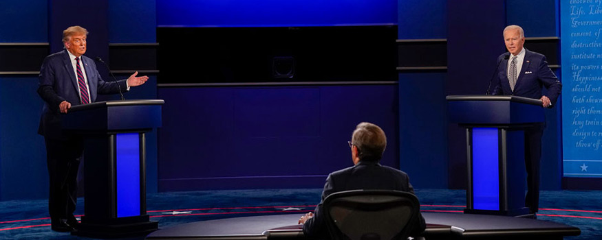 Chris Wallace of Fox News moderates the first presidential debate between President Donald Trump and Joseph Biden, democratic candidate and former vice president, on Sept. 29 in Cleveland, Ohio. Photo: Associated Press