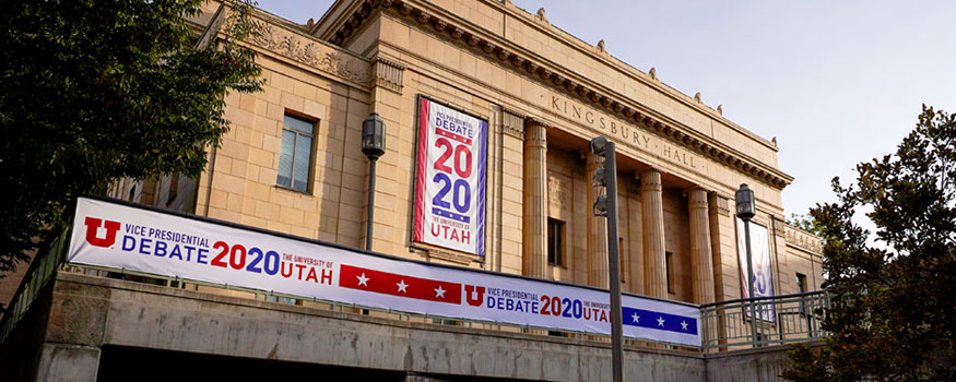 Banners hang from Kingsbury Hall ahead of Wednesday's vice-presidential debate between Republican Vice President Mike Pence and Democratic nominee Kamala Harris at the University of Utah in Salt Lake City. Photo: Associated Press